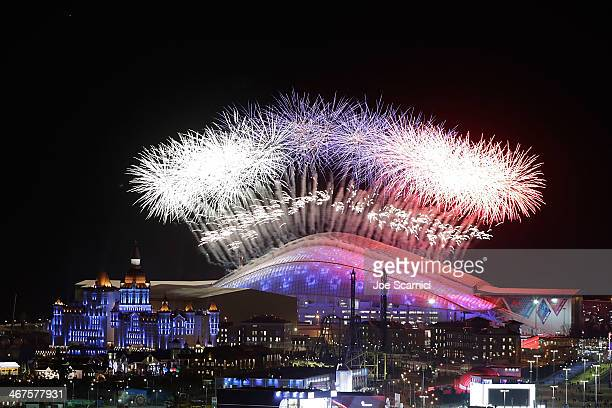 A general view of fireworks over Fisht Olympic Stadium during the Opening Ceremony of the Sochi 2014 Winter Olympics on February 7 2014 in Sochi...