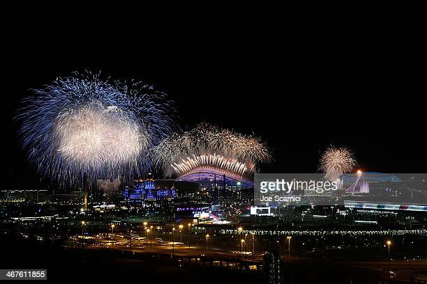 A general view of fireworks over the Olympic park during the Opening Ceremony of the Sochi 2014 Winter Olympics on February 7 2014 in Sochi Russia