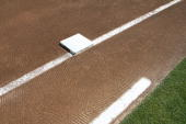 General view of first base on the infield dirt before the game between the San Francisco Giants and the Oakland Athletics on May 20 2007 at the...