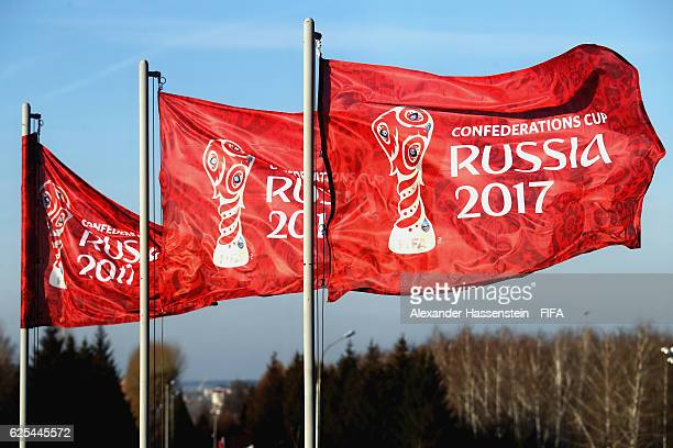 General view of flags for the FIFA Confederations Cup Russia 2017 on November 24 2016 in Kazan Russia The official draw of FIFA Confederations Cup...
