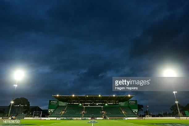 A general view of FMG Stadium prior to the round 11 Super Rugby match between the Hurricanes and the Stormers at FMG Stadium on April 26 2013 in...