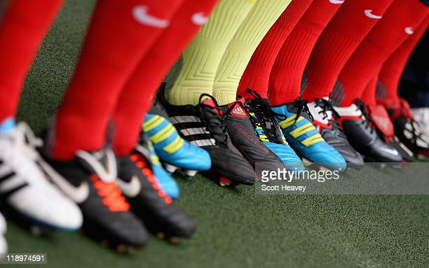 A general view of football boots during the FIFA Women's World Cup 2011 Semi Final match between France and USA at Borussia Park on July 13 2011 in...
