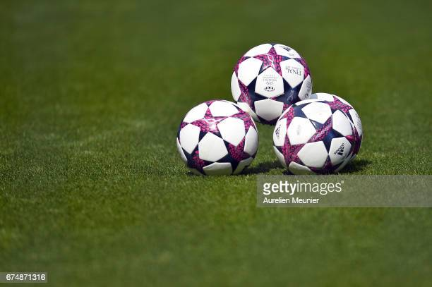 A general view of footballs before the Women's Champions League match between Paris Saint Germain and Barcelona at Parc des Princes on April 29 2017...