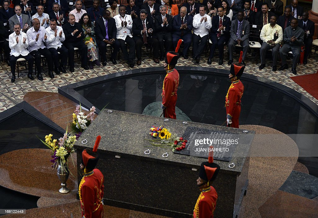 General view of former Venezuelan President Hugo Chavez's tomb before the opening of the Petrocaribe Summit, in Caracas on May 5, 2013. Pertocaribe is an alliance Venezuela has with several Caribbean states under which it supplies oil to them at cut-rate prices.