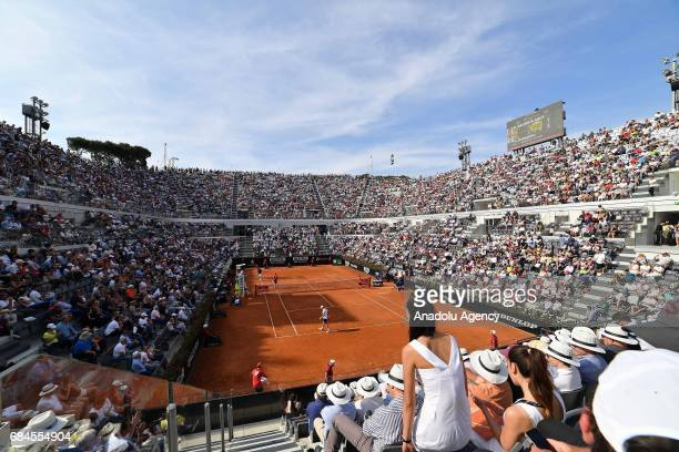 A general view of Foro Italico during Men's Single Match between Roberto Bautista Agut of Spain and Novak Djokovic of Serbia within the...