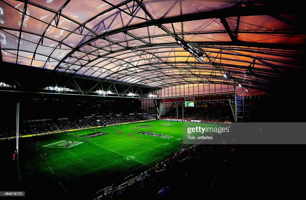 A general view of Forsyth Barr Stadium Dunedin during the round two Super Rugby match between the Highlanders and the Crusaders at Forsyth Barr...