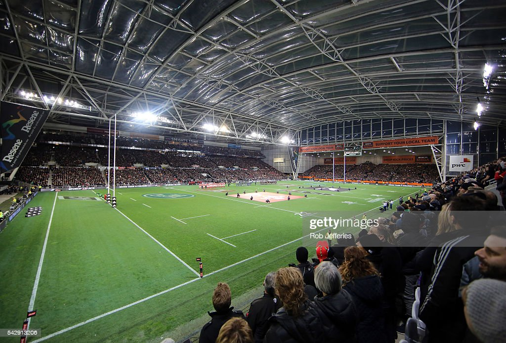 A general view of Forsyth Barr Stadium during the International Test match between the New Zealand All Blacks and Wales at Forsyth Barr Stadium on June 25, 2016 in Dunedin, New Zealand.