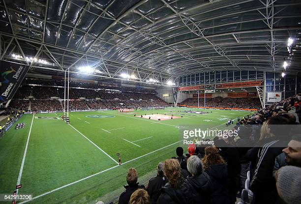 A general view of Forsyth Barr Stadium during the International Test match between the New Zealand All Blacks and Wales at Forsyth Barr Stadium on...
