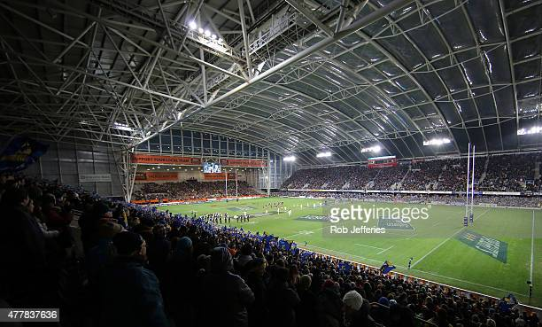 A general view of Forsyth Barr Stadium during the Super Rugby Qualifying Final match between the Highlanders and the Chiefs at Forsyth Barr Stadium...