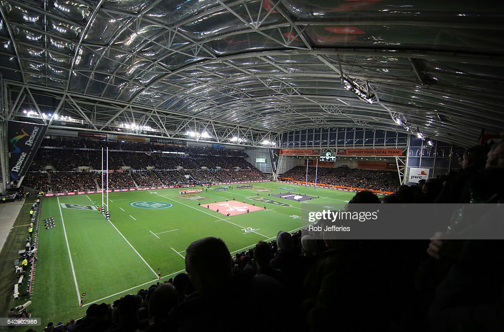 A general view of Forsyth Barr Stadium prior to the International Test match between the New Zealand All Blacks and Wales at Forsyth Barr Stadium on June 25, 2016 in Dunedin, New Zealand.