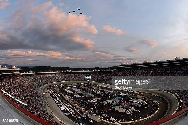 A general view of four F18's flying over Bristol Motor Speedway prior to the NASCAR Nationwide Series Food City 250 at Bristol Motor Speedway on...
