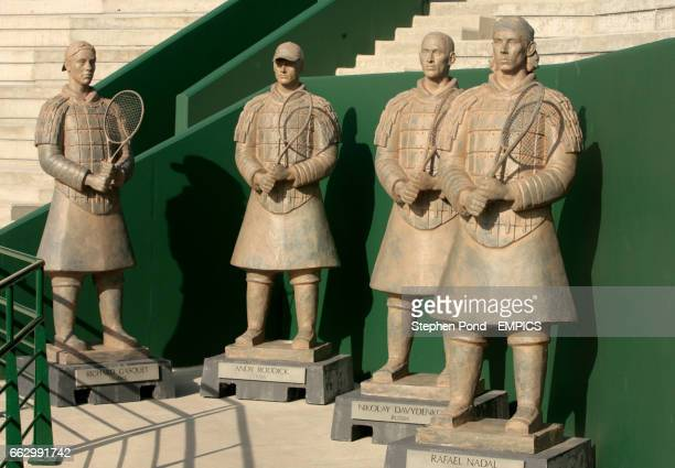 General view of four statues of Richard Gasquet Andy Roddick Nikolay Davydenko and Rafael Nadal dressed as Terracotta Warriors at the new court 2