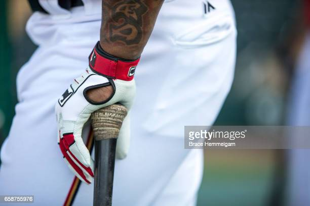 A general view of Franklin batting gloves and a bat prior to a game against the Tampa Bay Rays on February 24 2017 at the CenturyLink Sports Complex...