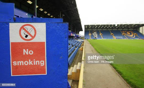 A general view of Fratton Park home of Portsmouth showing the Fratton End and a no smoking sign on the South Stand Picture date Wednesday August 22...