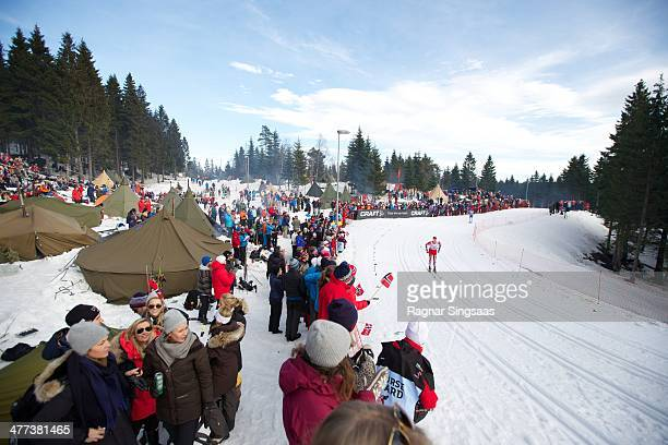General view of Frognerseteren during the FIS Men's Cross Country 50km World Cup Mass Start race on March 8 2014 in Oslo Norway