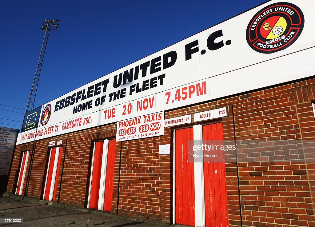A general view of front gate of Stonebridge Road Stadium, the home of Ebbsfleet United FC on November 14, 2007 in Gravesend, United Kingdom. 20,000 MyFootballClub.co.uk members have each paid ?35 to provide a ?700,000 takeover pot which will give them each an equal share in the club along with the right to vote on player selection, transfers and all major decisions.