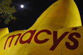 General view of full moon over a Macy's Star balloon during the 89th Annual Macy's Thanksgiving Day Inflation Eve on November 25 2015 in New York City