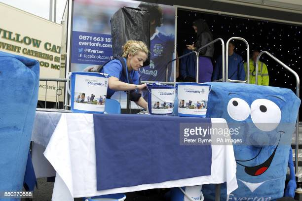 A general view of fundraising buckets in front of the Everton Roadshow stage