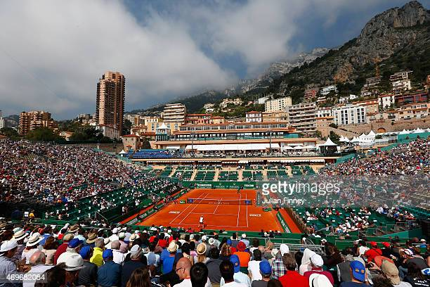 A general view of Gael Monfils of France in his match against Andrey Kuznetsov of Russia during day three of the Monte Carlo Rolex Masters tennis at...