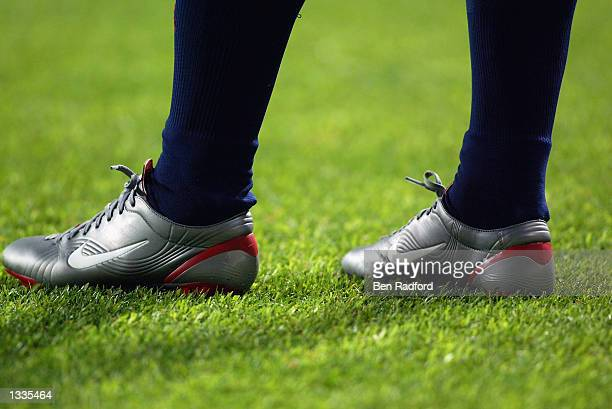 General view of Gaizka Mendieta's football boots during the Spain v South Africa Group B World Cup Group Stage match played at the Daejeon World Cup...