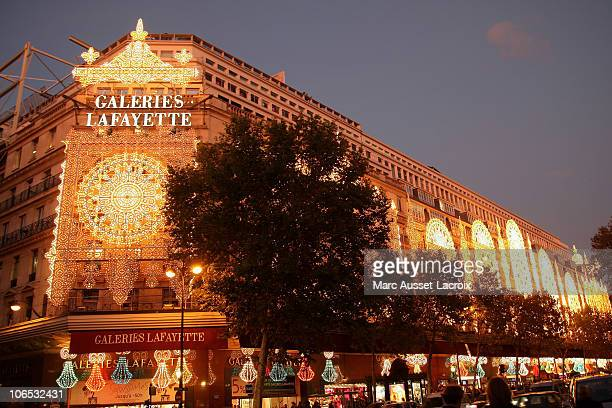 General View of Galeries Lafayette Store during the turning on of 'Show Chaud Noel' Illuminations at Galeries Lafayette on November 4 2010 in Paris...