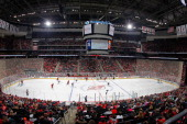 A general view of game action during the game between the Chicago Blackhawks and the New Jersey Devils at the Prudential Center on January 3 2014 in...
