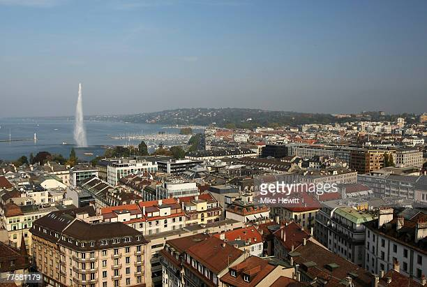 General view of Geneva Switzerland on October 17 2007 in Geneva Switzerland