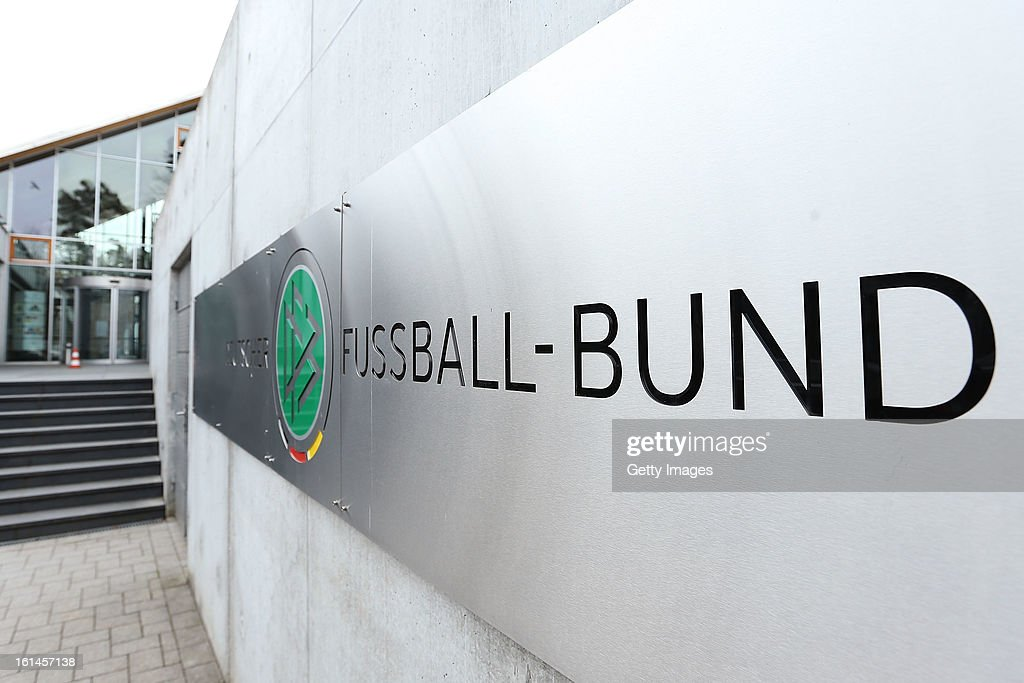A general view of German Football Association (DFB) logo prior to a press conference on February 11, 2013 in Frankfurt am Main, Germany.