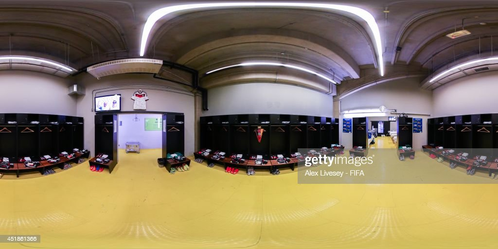 A general view of Germany dressing room before the 2014 FIFA World Cup Brazil semifinal match between Brazil v Germany at Estadio Mineirao on July 8...