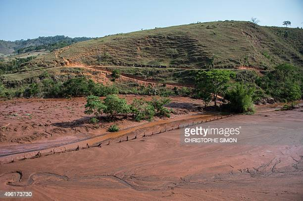 General view of Gestorio part of Barra Longo city under mud 60 km from Mariana Brazil on November 07 2015 Rescuers searched for a third day Saturday...
