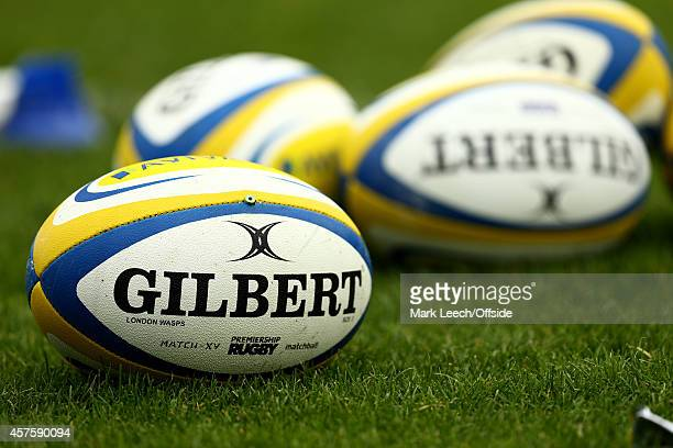 A general view of Gilbert Rugby balls during the Aviva Premiership match between Wasps and Bath at Adams Park on October 12 2014 in High Wycombe...