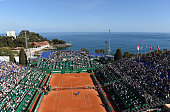 A general view of Gilles Simon of France and Viktor Troicki of Serbia during day One of the ATP Monte Carlo Masters at the MonteCarlo Country Club on...