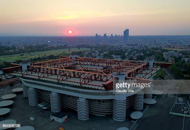General view of Giuseppe Meazza Stadium on August 17 2017 in Milan Italy
