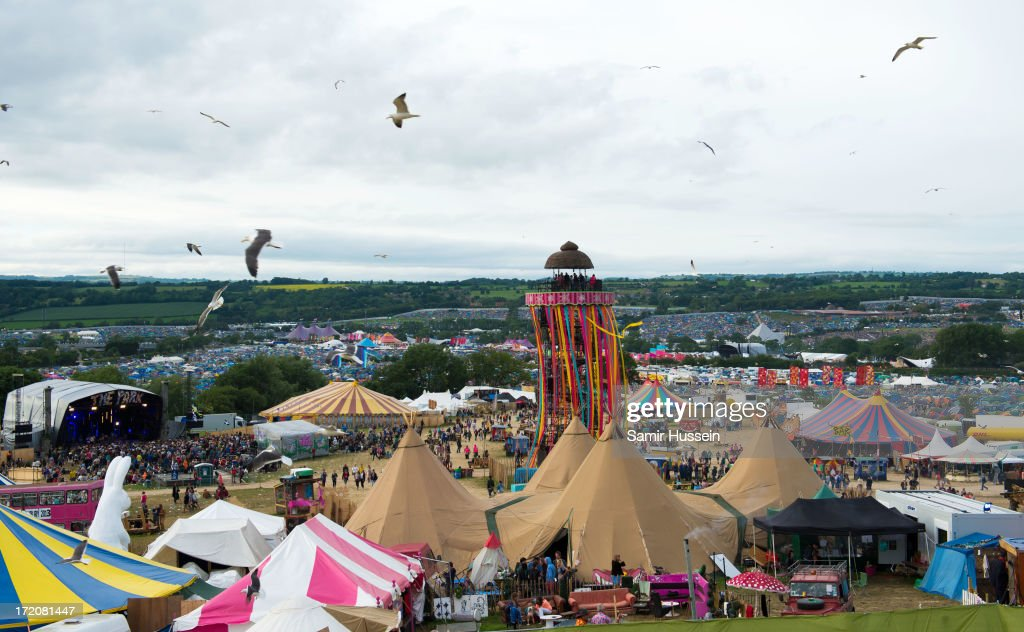 A general view of Glastonbury Festival of Contemporary Performing Arts at Worthy Farm, Pilton on June 30, 2013 in Glastonbury, England.