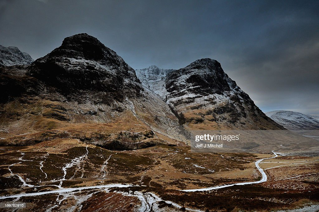 A general view of Glencoe on January 20,2012 in Glencoe, Scotland. Four climbers were killed yesterday following and avalanche on Bidean Nam Bian in Glencoe, A party of six, three men and three women were descending close to Church Door Buttress when the snow slope broke away.