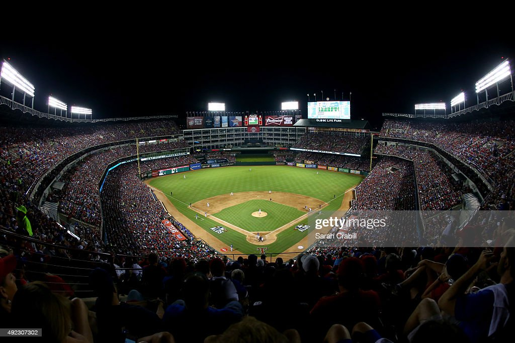 A general view of Globe Life Park during Game 3 of the ALDS between the Toronto Blue Jays and the Texas Rangers on Sunday October 11 2015 in...
