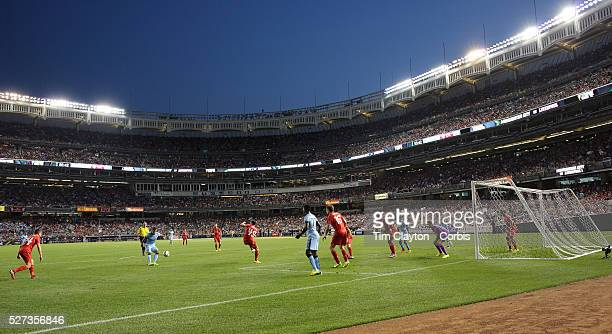 A general view of goal mouth action during the Manchester City Vs Liverpool FC Guinness International Champions Cup match at Yankee Stadium The Bronx...