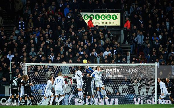 General view of Goalkeeper Stephan Andersen of FC Copenhagen in action during the Danish Alka Superliga match between FC Copenhagen and Silkeborg IF...