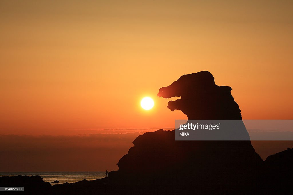 A general view of Godzilla Rock and evening glow on May 16, 2010 in Oga, Akita, Japan.