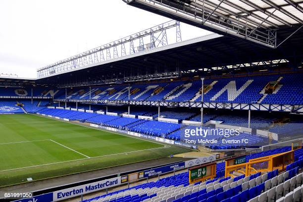 A general view of Goodison Park before the Premier League match between Everton and West Bromwich Albion at the Goodison Park on March 11 2017 in...