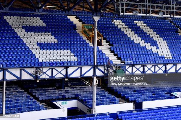 A general view of Goodison Park before the Premier League match between Everton and Chelsea at the Goodison Park on April 30 2017 in Liverpool England