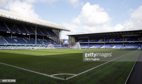 A general view of Goodison Park during the Barclays Premier League match between Everton and Southampton at Goodison Park on April 4 2015 in...