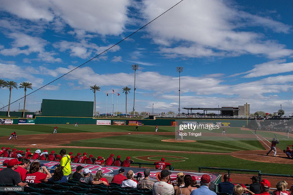 A general view of Goodyear Park during a spring training game between the Cleveland Indians and the Cincinnati Reds at Goodyear Ballpark on February...