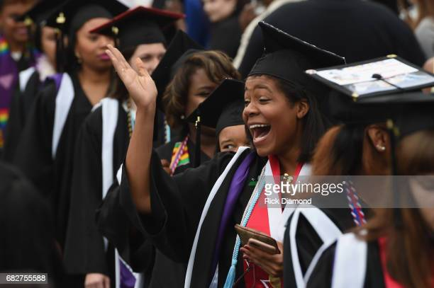 General view of graduation ceremonies at Agnes Scott College where Oprah Winfrey gave today's Commencement Address on May 13 2017 in Decatur Georgia