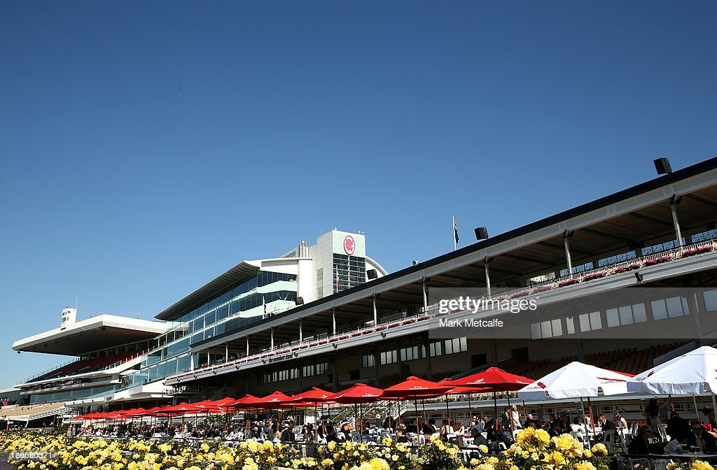 A general view of grandstands ahead of racing on Victoria Derby Day at Flemington Racecourse on November 2, 2013 in Melbourne, Australia.