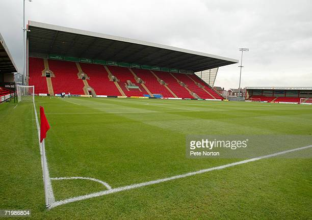 A general view of Gretys Road home of Crewe Alexandra prior to the Coca Cola League One match between Crewe Alexandra and Northampton Town at Gresty...