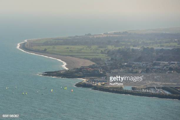 A general view of Greystones from a hill a part of BrayGreystones cliff walk On Sunday March 26 in Bray Ireland