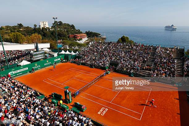 A general view of Grigor Dimitrov of Bulgaria in action against Fernando Verdasco of Spain during day three of the Monte Carlo Rolex Masters tennis...