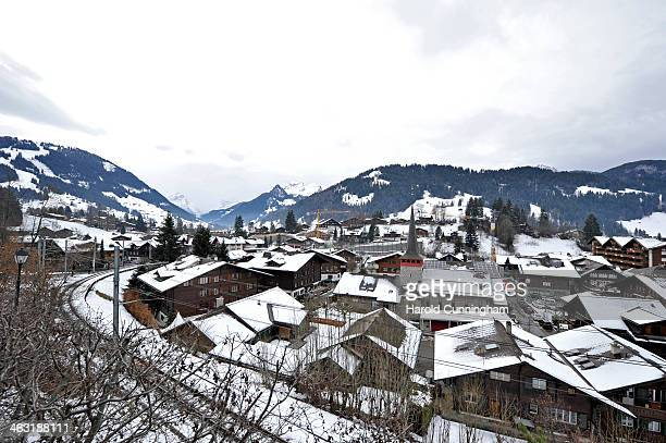 A general view of Gstaad and the Saint Joseph catholic church on January 16 2014 in Gstaad Switzerland