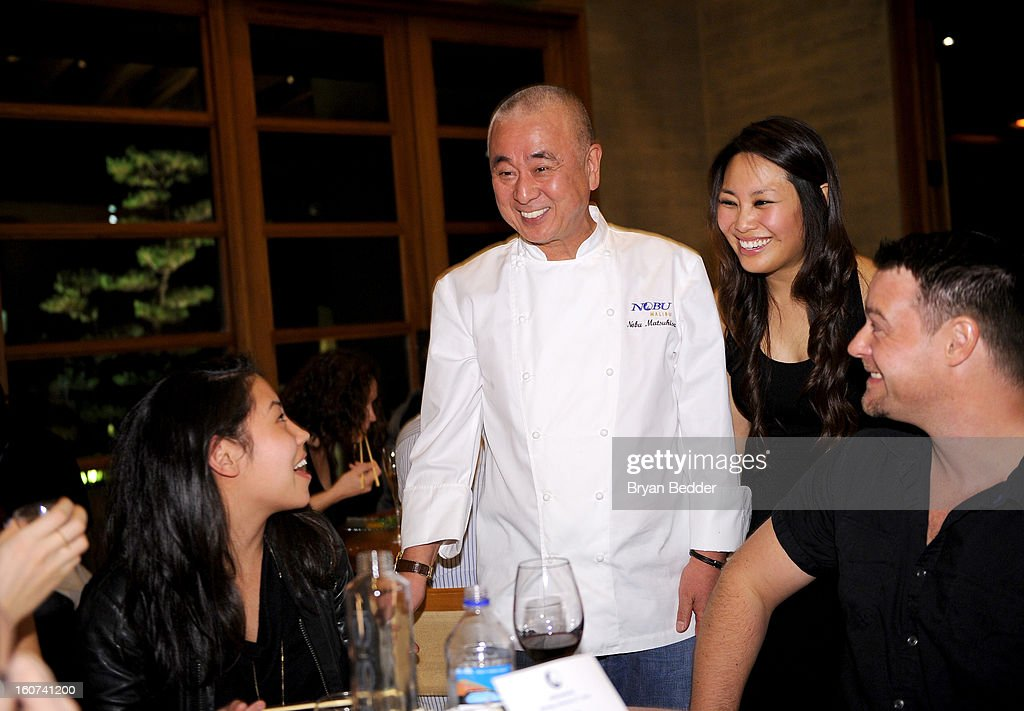 A general view of guest and Chef Nobuyuki Matsuhisa (C) during Chef Nobuyuki Matsuhisa hosts a private dinner at Nobu Malibu to celebrate Delta Air Lines' Nonstop NYC challenge on Feb. 4, 2013 in Los Angeles, California.